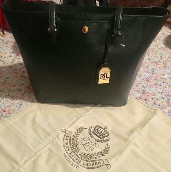 bb9b288b41 NWT Ralph Lauren black leather tote bag